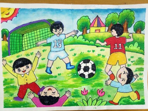 小学一年级的足球比赛画画图片