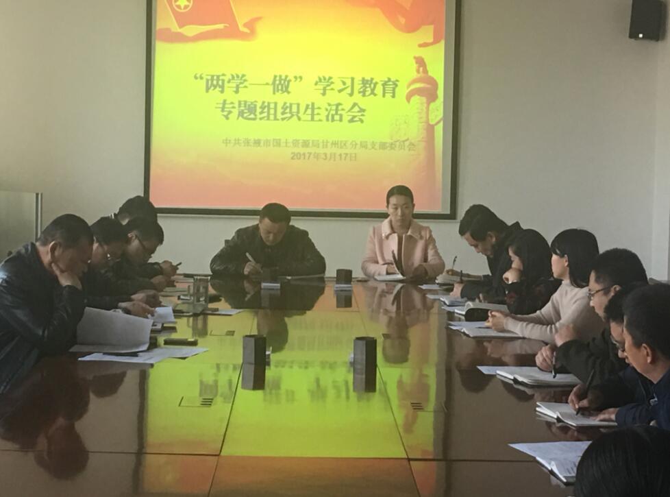 """甘州区国土局党支部 召开""""两学一做""""专题组织生活会"""