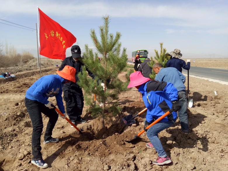 甘州区火车站街道开展义务植树活动