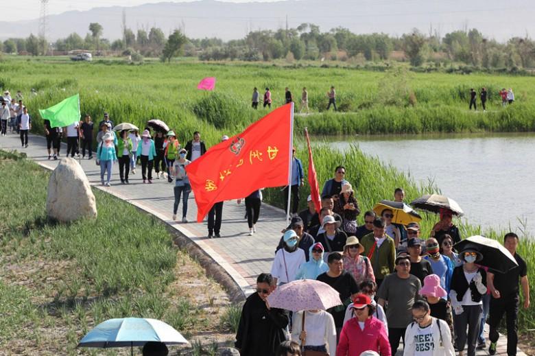 """2018年""""六.五""""环境日张掖黑河湿地环保行徒步穿越活动在张掖国家湿地公园隆重举行"""
