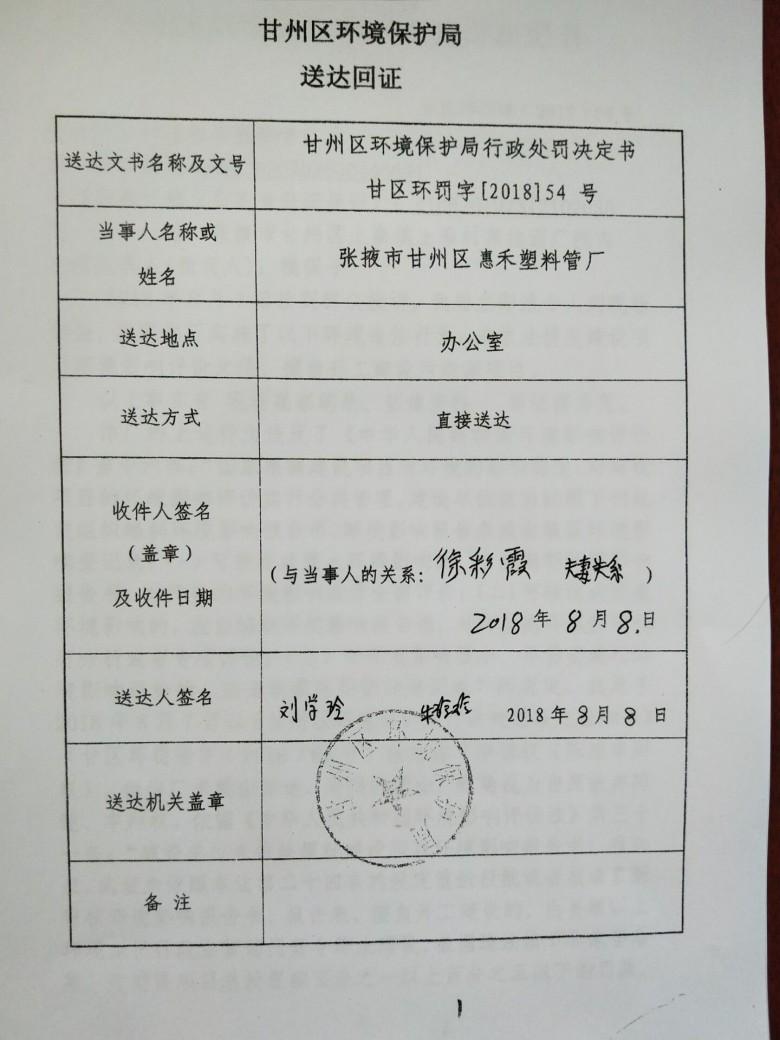 甘州区环境保护局行政处罚决定书