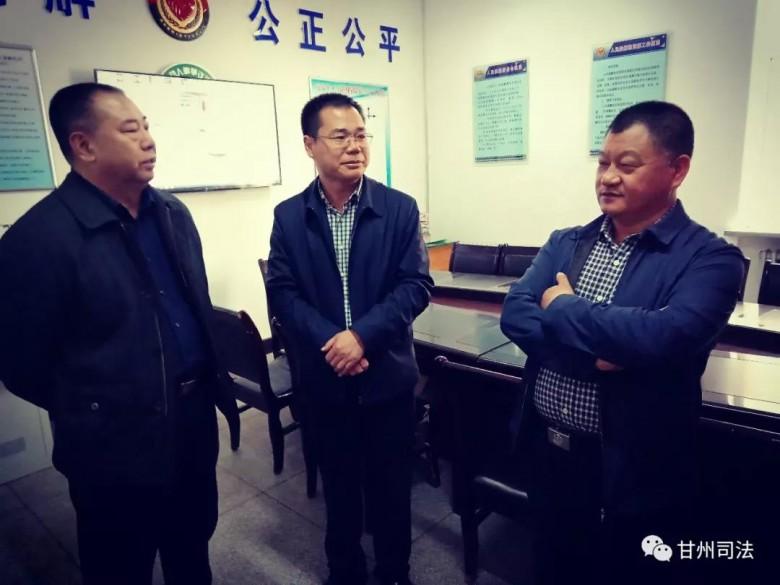 张掖市司法局对我区基层司法所规范化建设、公共法律服务站室和法治 宣传教育工作进行督查